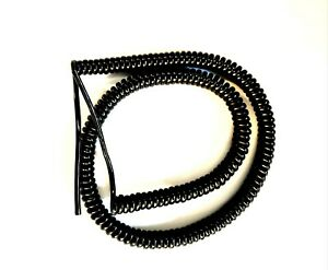 """4 CORE 0.22sqmm (24awg) COILED BLACK PUR CABLE 1m (39.5"""") COIL LENGTH"""