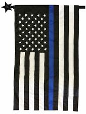 Police Thin Blue Line Black and White American Sewn Nylon 2.5x4 House Flag