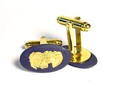 Wedgwood Navy Jasperware Cameo w/Gold Girl Profile on Gold Plated Cufflinks