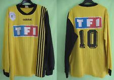 Maillot porté Coupe de France jaune TF1 porté 10 Adidas Jersey 90'S vintage - XL