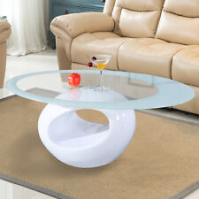 Contemporary Glass Oval Coffee Table Round Hollow Shelf Living Room Furniture