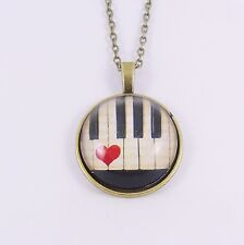 PIANO KEYS NECKLACE vintage chic antique heart music pianist victorian retro