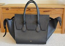 Auth Céline Tie Knot Bag Black Grained Leather Mini Bag Luggage Tote $3300+