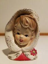Vintage Christmas Inarco Girl w/Poinsettias & Gold Trim Head Vase - VERY RARE!