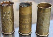 3 petits obus décorés travail de poilu tranchée guerre 14-18