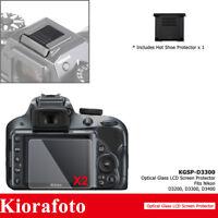 2PCS Tempered Glass Screen Protector + Hot Shoe Cover fr Nikon D3500 D3400 D3300