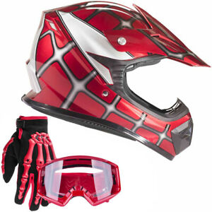 Youth Red Spiderman Motocross Helmet with Red Goggles Gloves Kids Combo S M L XL