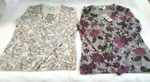 Lot of 2 NWT Women's Charter Club Cashmere V-neck Floral Design Sweater Size S