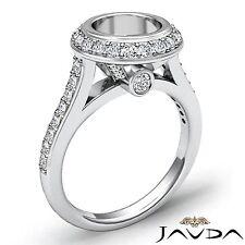 Halo Pave Set Round Semi Mount 0.8Ct Diamond Engagement Bezel Platinum 950 Ring