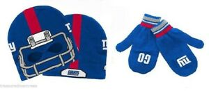 Licensed NFL Youth Hat & Mittens Set ~ New York Giants