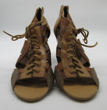 Used Aldo Multicolored Buckle Brown Peep Toe Lace Up Heeled 3'5 Sandals Size 8