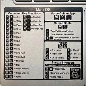 Mac OS Keyboard Shortcut Vinyl Decal Sticker MacBook, Air, Pro, M1. 2021 UPDATE!