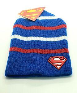 * New! DC Comics Superman Shield - Red, White & Blue Bioworld Knit Beanie Hat *