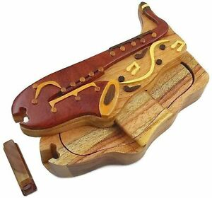 Saxophone Wooden Puzzle Box Intarsia Jewelry Trinket Box Handcrafted