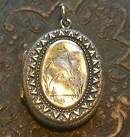 Antique Victorian Bird Locket Sterling Silver Aesthetic period Eng. Hallmarks