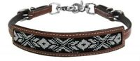 Showman MEDIUM OIL Leather Wither Strap W/ WHITE & BLACK Beaded Inlay! NEW TACK!