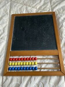 Vintage Childs Wooden Abacus Chalkboard Blackboard Frame 17.25 Inches By 13