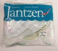 Vtg Jantzen Swim Cap National Style White Gathered Turban 1970s