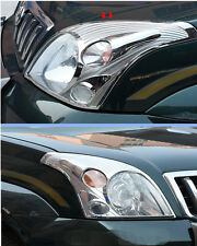 2pcs Chrome Front Head Light Lamp Cover Trim for Toyota Prado Fj120 2003-2009