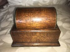 Vintage Oak And Chrome Cigarette Dispenser With Roll Top Possibly 1930S