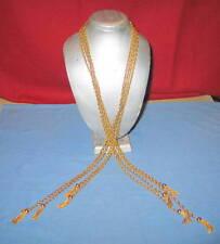 """Vintage YSL Saint Laurent 8-Tassel 4-Strand 46"""" Gold Runway Necklace"""