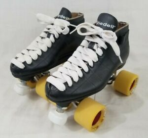 Women's Size 6 Riedell 595 Roller Speed Skates w/ Black Plates + SureGrip Wheels