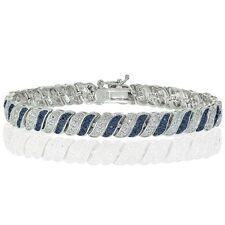 Silver Tone 0.25ct Treated Blue & White Diamond Wave Tennis Bracelet in Brass