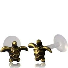 "BRASS TURTLE TRAGUS HELIX 16G 1/4"" inch 6mm INTERNAL BIOPLAST LABRET EAR STUD"