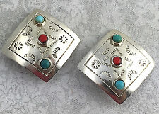Vintage .925 Sterling Silver, Turquoise & Coral, Clip-On Earrings - Mexico