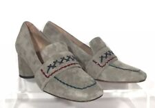 New Donald J Pliner Womens Cannes Block Heel Pump Gray Suede Sz 9 RV $248