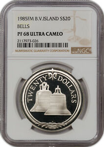1985-FM B.V.ISLAND SILVER 20$ BELLS NGC PF 68 ULTRA CAMEO FINEST KNOWN