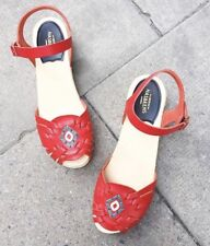 NEW Swedish Hasbeens Huarache Clogs Sandals Size 40 Red Leather