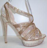 Pelle Moda Size 8 M MALIN Gold Silk Platform Heels Sandals New Womens Shoes