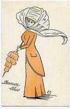 ILLUSTRATEUR. CHARMANTE LADY.CHARME.MODE.FASHION.CHAPEAU.HAT. DERNIER CHIC.