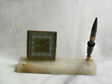 VINTAGE  FLORN  DESK  CLOCK  WITH  ORIGINAL  PEN*MADE IN WEST GERMANY/