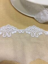 PREMIUM EMBROIDERED TULLE LACE WHITE trim 60mm John Lewis by METRE trimming