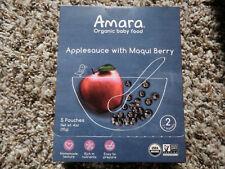 Amara Organic Baby Food Applesauce with Maqui Berry - 5 Pouches Non-GMO Ogranic
