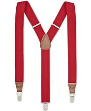 $85 NEW CLUB ROOM Men's RED SOLID ELASTIC STRETCH METAL CLIP-ON END SUSPENDERS
