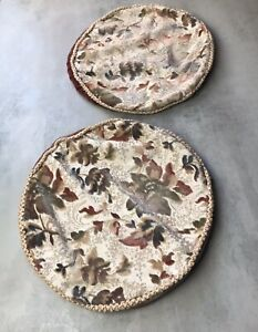 2 Vintage Brown Velour Floral Round Cushion Seat Pad Covers Zip Camper Retro