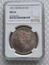 1921-P MORGAN SILVER DOLLAR NGC MS64