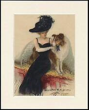 ROUGH COLLIE AND EDWARDIAN LADY AT DOG SHOW LOVELY PRINT MOUNTED READY TO FRAME