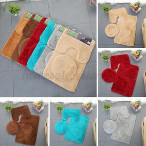 3pcs/set Non-slip Mats Toilet Seat Cover Soft Bath Room Rug Bathroom Decor Mats