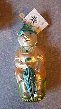 "Christopher Radko Bear ? & Umbrella & Hat Ornament 75733 nwt 6"" glass Help? htf"