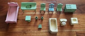13 Vtg Wood Strombecker Dollhouse Furniture Miniatures Bedroom Bathroom Kitchen
