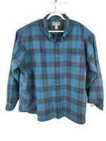 Duluth Trading Co Flannel Shirt Blue Plaid Free Swinging Button Down Mens 4XL