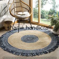 Natural Braided Handmade Round 210 CM Jute Cotton Woven Floor Carpet Area Rugs