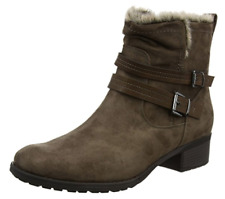 Evans Angela Womens UK 10 E Wide Fit Brown Memory Foam Fur Trim New Ankle Boots