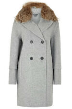 NWT $1295 VINCE GRAY PEACOAT REMOVABLE COYOTE COLLAR WOOL COAT SZ M(US 6~8)