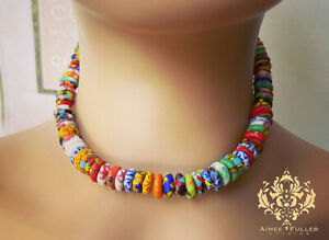Krobo Tribe Statement Necklace Chunky Tribal African Crushed Glass