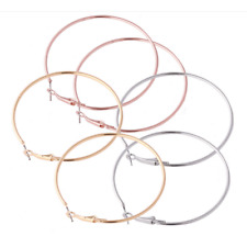 3pairs Women Silver Gold Plated Big Circle Smooth Large Ring Hoop Earrings